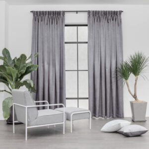 Baagus Curtain Sheer Malaysia Metallic Cross Dark Grey 1