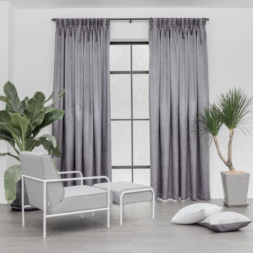 Baagus Curtain Sheer Malaysia Metallic Cross Dark Grey 1