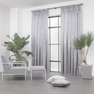 Baagus Curtain Sheer Malaysia Metallic Cross Light Grey 2