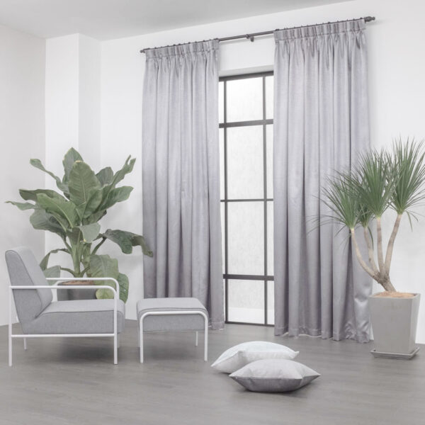 Baagus Curtain Sheer Malaysia Metallic Cross Light Grey 2