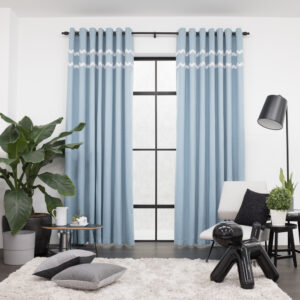 Baagus Curtain Sheer Malaysia Sturdy Soft with Double Fringes Blue 1
