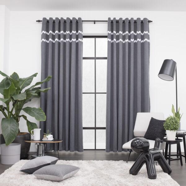 Baagus Curtain Sheer Malaysia Sturdy Soft with Double Fringes Dark Grey 1