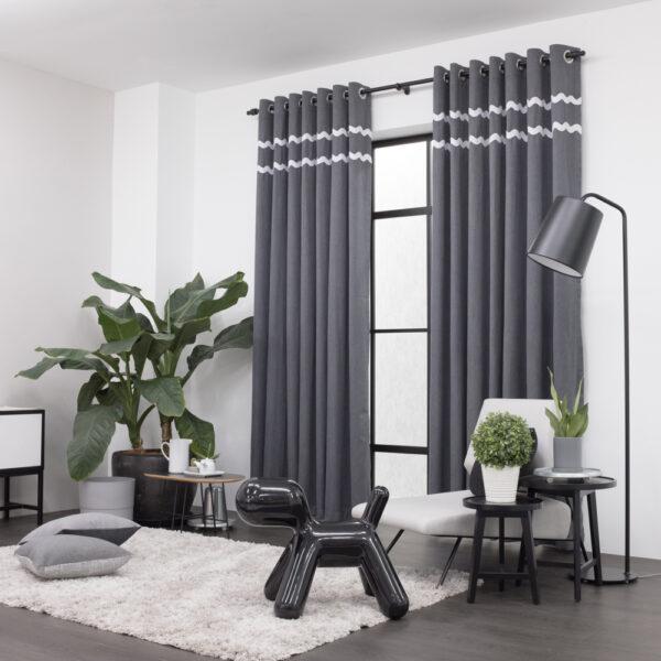 Baagus Curtain Sheer Malaysia Sturdy Soft with Double Fringes Dark Grey 2
