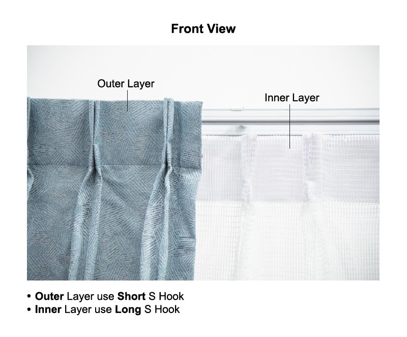 usage of hooks double layer raling front view